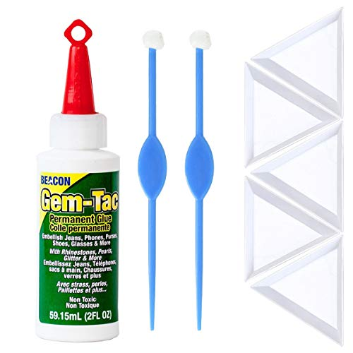 Gem Tac Glue - Beacon Gem-Tac Permanent Adhesive, 2-Ounce for Jewelry, 2X Beadaholique Perfect Positioner, 5X Pixiss Triangle Bead Trays