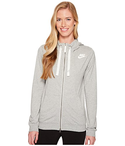 Nike Womens Gym Classic Full Zip Hooded Sweatshirt Grey Heather/Sail 924081-063 Size X-Small