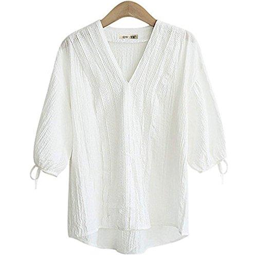 FINCATI Shirts Women Textured Tops V Neck Button Down with Pocket Loose T Shirt Plus Size (C-White, XL) - Cotton V-neck Blouse