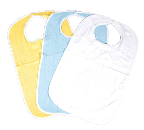 6 Pack of Soft Terry Cloth Adult Bibs with Velcro® Closures Size 18x30 - 2 Blue 2 White & 2 Yellow (18''x30'')