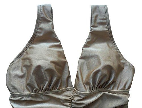 Le Besi de una pieza para mujer Bañador de reservorio de inspirado en tela de brillante elegante Fruncidos caqui