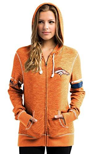 Denver Broncos Women's Athletic Tradition Zip-Up Hooded Sweatshirt Small Denver Broncos Womens Sweatshirts