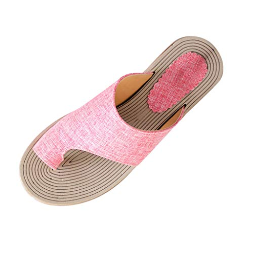 (Gladiator Flat Sandals,ONLY TOP Women's Flat Heel Sandals with Rivets Slide Slipper Beach Thong Flip Flops Slipper Pink)