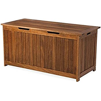 Plow U0026 Hearth 62A37 NT Lancaster Outdoor Furniture Collection Eucalyptus Wood  Storage Box, Natural