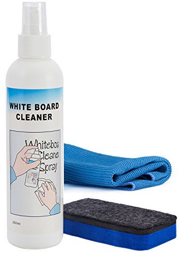 Chalkboard Cleaner - officematters 8 oz Chalkboard Whiteboard Liquid Cleaner Spray and Eraser Set for Blackboards Whiteboards Glass Liquid Chalks and Dry Erase Boards,Non-Toxic