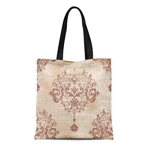Semtomn Canvas Tote Bag Silver Rococo Damask Floral Pattern Victorian Antique Baroque Beauty Durable Reusable Shopping Shoulder Grocery Bag