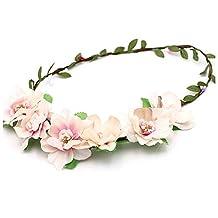 C-Pioneer 2pcs Boho Style Floral Wedding Hair Wreath Flower Bridal Hairband (Pale Pink)