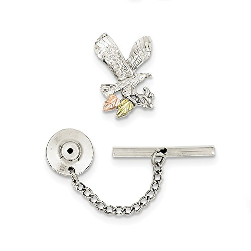 925 Sterling Silver 12k Eagle Pin/tie Tac Man Tie Bar/Fine Jewelry Gift For Dad Mens For Him