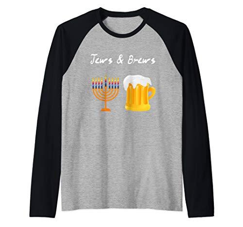 Jews And Brews Jewish Beer Drinking Raglan Baseball Tee]()