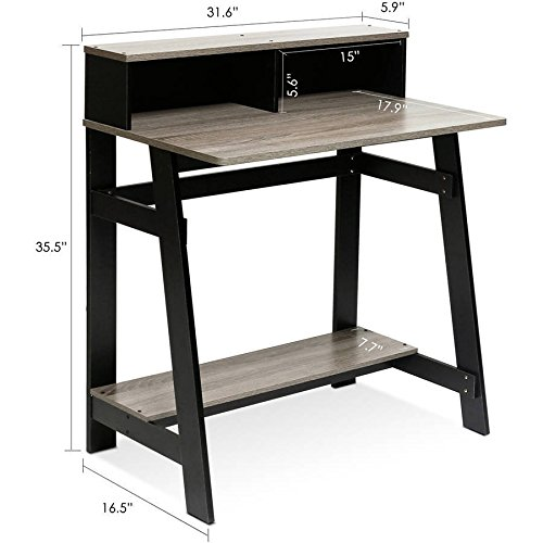 Small Wood Computer Desk Shelf Student Kid Modern Espresso Home Office Furniture