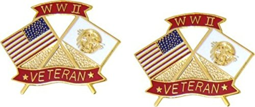Wwii Lapel Pins (MilitaryBest WWII Veteran Lapel Pin 2 Pack)