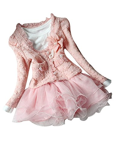 wuudi Cardigan Clothes Kids Dress Outfit Clothing 2 Piece for Baby Girls