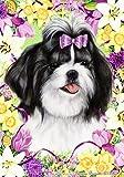 """Shih Tzu Black by Tamara Burnett Easter Flowers Garden Dog Breed Flag 12"""" x 18″"""