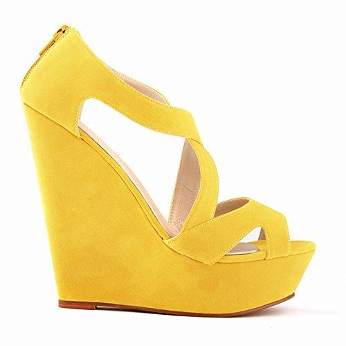 tacon zapatos de ocasionales mujer Sandalias de botines plataforma zapatos de boda amarillo de con alto TOOGOO de alto 35 R tacon a5TqwY