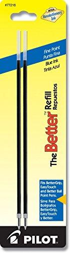 6 PACK Pilot Ballpoint Ink Refill 2/Pk for Better/EasyTouch Pen Fine Blue(77216)