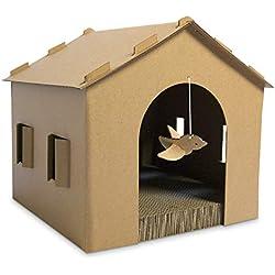 FurHaven Pet Cat Scratcher | Gingerbread House Corrugated Cat Scratcher w/ Catnip, Cardboard (Brown), One Size