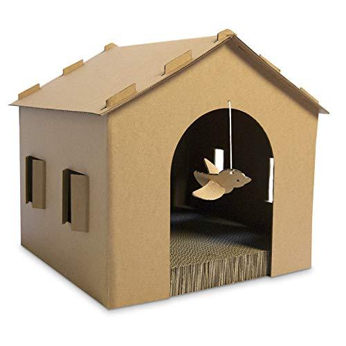 FurHaven Pet Cat Scratcher | Gingerbread House Corrugated Cat Scratcher w/ Catnip, Cardboard (Brown), One Size ()
