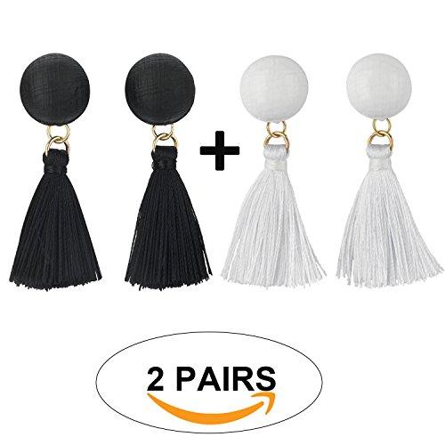 Save4you Elegant Korean Style Long Thread Tassel Drop Dangling Earrings Ear Studs (Black+White) (Fancy Thread Earrings)