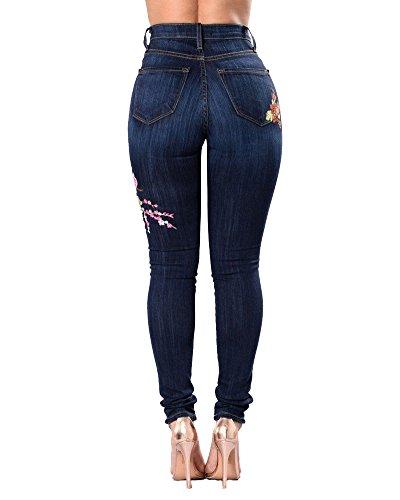 Dchir Jeans Bleu lastique Stretch Fonc Floral Femme Skinny Trou Taille Slim Haute Brod pqFxd0w6