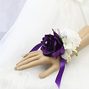 Angel Isabella Open Rose Wrist corsages with Pearl Wristband for Wedding,Prom,Dance,Homecoming. Atificial Flower (Ivory/Purple) 109