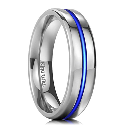 King Will 6mm Thin Blue Line Titanium Wedding Ring Polished Engagement Ring For Unisex (11)