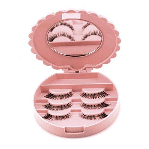 Icocol Acrylic Cute Bow False Eyelash Storage Box Makeup Cosmetic Mirror Case Organizer