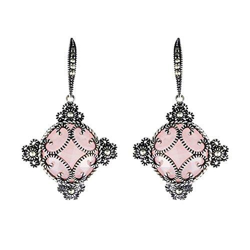 - Aura 925 Sterling Silver Ice Rose Quartz & Marcasite Earring