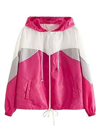 SweatyRocks Women's Casual Color Block Drawstring Hooded Windbreaker Jacket - Pink - X-Small