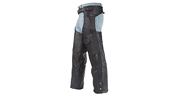 M-BOSS MOTORCYCLE APPAREL-BOS15506-BLACK-Men/'s zip-out insulated pant style motorcycle leather chaps.-BLACK-X-LARGE