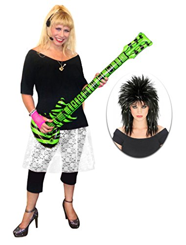 Rocker Chick White Lace Plus Size Supersize Halloween Costume Deluxe Black Wig Kit 2x