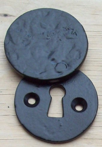 Ironmongery World Black Antique Cast Iron Keyhole Key Hole Covers Escutcheons... by Ironmongery World