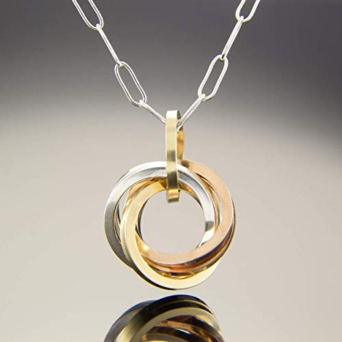 18 Inch Tri Color Square Knot Pendant Necklace in Sterling Silver Rose and Yellow Gold ()
