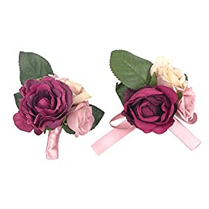 Abbie Home Prom Wrist Corsage Brooch Boutonniere Set Wedding Event Party Wristband Hand Flower Décor (Burgundy) 36