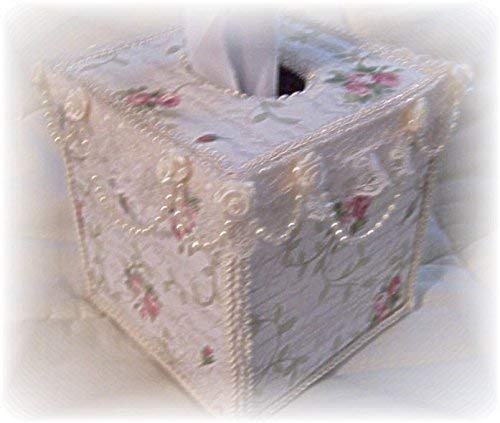 French Script Cottage Chic Pink Roses Tissue Box Cover