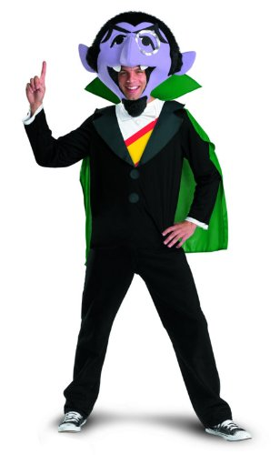 Disguise Men's Sesame Street The Count Costume, Black/Green/Purple/Yellow/Red, X-Large