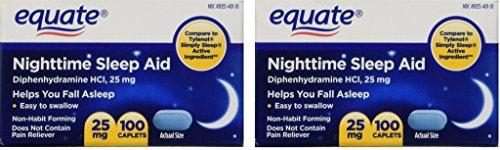 Equate - Nighttime Sleep Aid 25 mg, 100 Mini-Caplets (Pack of 2)