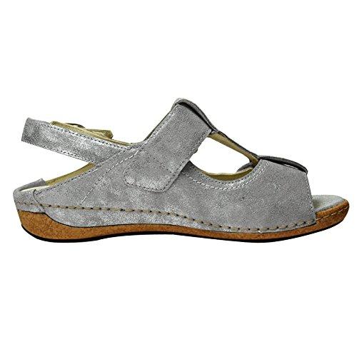 Piel Waldläufer para Heliett de de mujer Sandalias gris piedra vestir gris R1nrRW