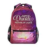 School Backpack Happy Diwali Lightweight Travel Daypack College Bag for Women Girls