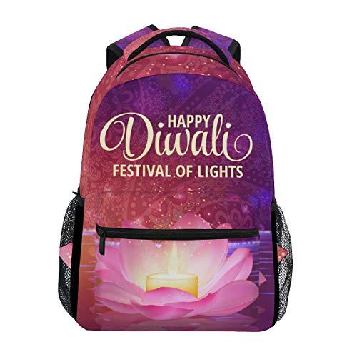 School Backpack Happy Diwali Lightweight Travel Daypack College Bag for Women Girls by My Little Nest