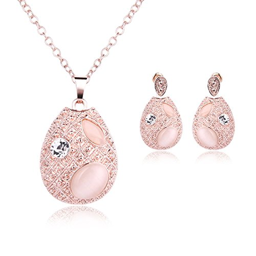 OUFO Women Girls Rose Gold Plated Vintage Pink Beaded Gemstone Necklace Pendant Earrings Elegant Prom Party Jewelry Set (2131) -