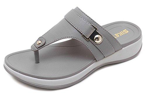 Confortable Toe Talon Compensé Clip Femme Plateforme Tongs Gris Aisun SqWwn5vn