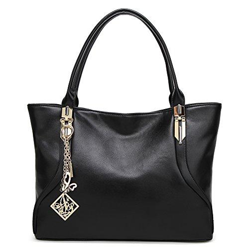DALFR PU Handbags For Women Simple Laides Shoulder Tote Bag Purse (Black)