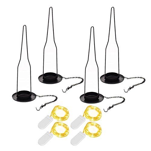 Hanging Candle Holder, 4 Sets Bottle Lamp Hanger with Starry String Lights for Wine Beer Bottle Jar DIY Gift - Hanging Wine Bottle Holder