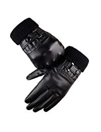 Winter Leather Gloves Men PU Driving Touchscreen Black Gloves By Long Keeper