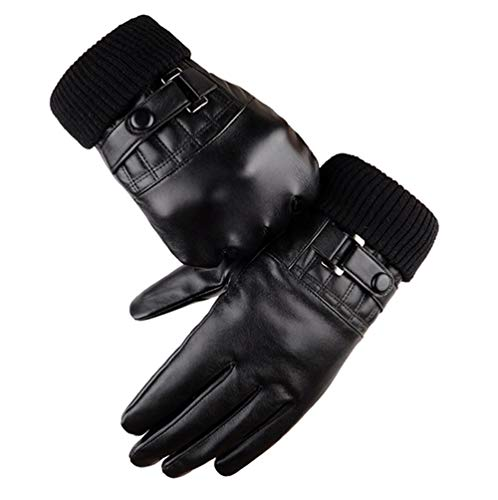 - Winter Leather Gloves for Men PU Driving Warm Touch Screen Black Gloves By Long Keeper