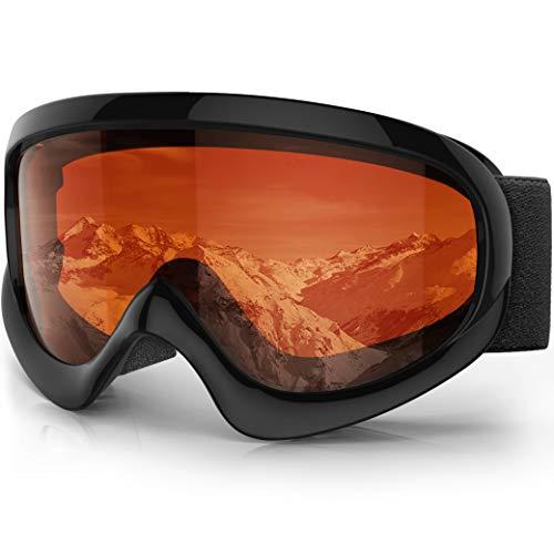 findway Kids Ski Goggles, Kids Snow Snowboard Goggles - Helmet Compatible Over Glasses OTG Design Non-Slip Strap UV Protection Child Children Youth Boys Girls Snowboarding