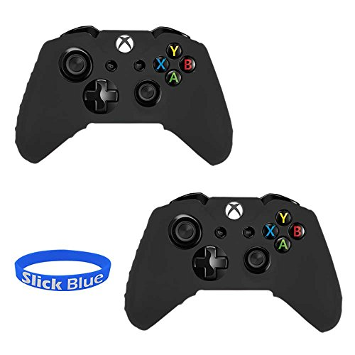 SlickBlue 2 Pack Soft Flexible Silicone Gel Rubber Grip Protective Case Cover For Xbox-One Game Controller - Black [Xbox One]