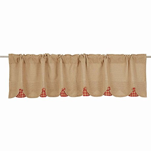 VHC Brands Burlap with Red Check Scalloped Valance, 16x72