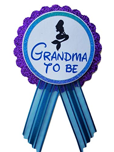 Grandma to Be Pin Mermaid Baby Shower Pin to wear at Baby Shower, Purple & Turquoise Pin, It's a Girl, Baby Sprinkle