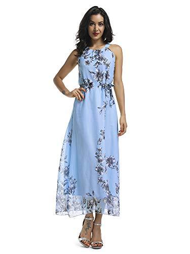 Women's Sleeveless Halter Neck Vintage Floral Print Maxi Dress Blue S